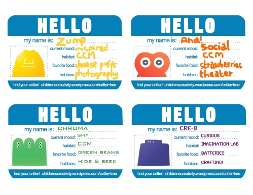 CREATIVITY CRITTERS NAME TAGS